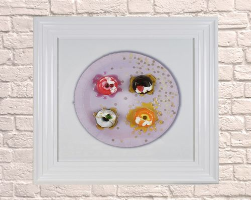 Large Donut  Pink Plate White 65cm Frame 3D Artwork